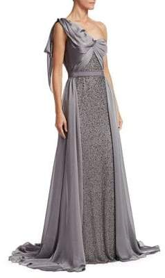 Jenny Packham Draped One-Shoulder Gown