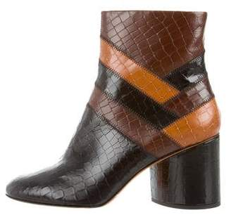 Robert Clergerie Embossed Leather Round-toe Ankle Boot w/ Tags