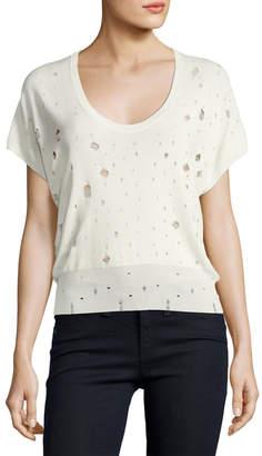 Alexander Wang Short-Sleeve U-Neck Distressed Sweater, White