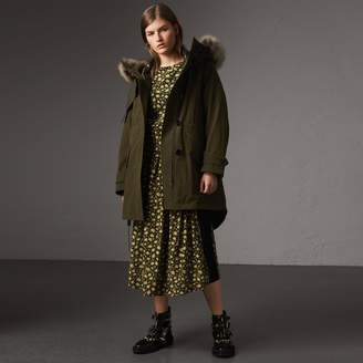 Burberry Raccoon Fur and Shearling Trim Parka with Warmer