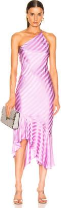 Mason by Michelle Mason One Shoulder Ruffle Hem Dress in Lilac   FWRD