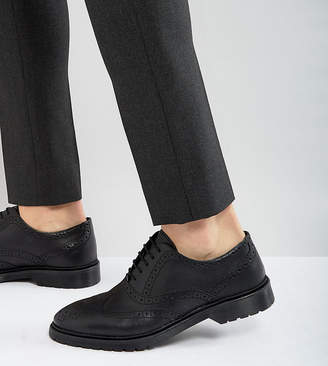 Asos Design Wide Fit Brogue Shoes In Black Leather With Ribbed Sole