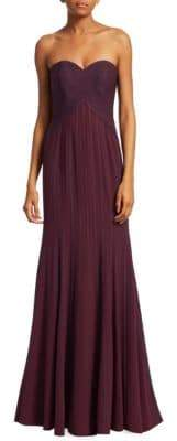 Halston Strapless Flowy Satin Strips Gown