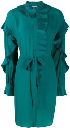 Twin-Set pleated ruffles shirt dress
