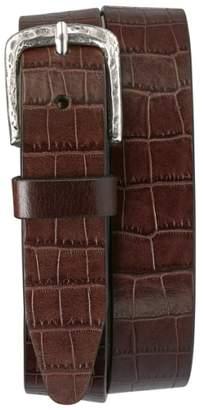 Trask 'Rex' Croc Embossed American Steer Leather Belt