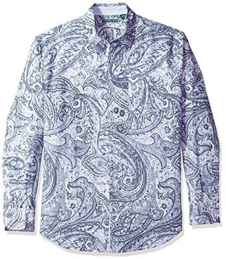 Cubavera Men's Long Sleeve Linen-Blend Print Button-Down Shirt