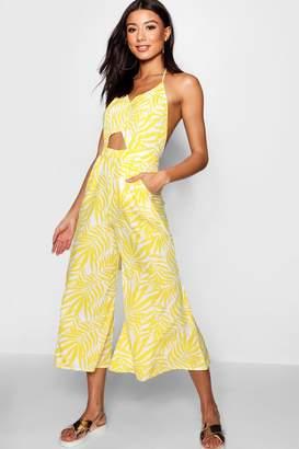 boohoo Yellow Palm Jumpsuit