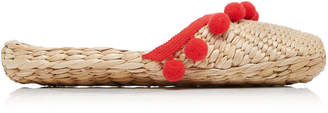 Rae Feather M'O Exclusive: Monogram Pom Pom Straw Slippers