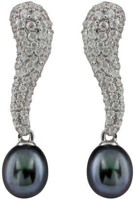 Splendid Pearls Silver 8-8.5Mm Pearl Cz Earrings
