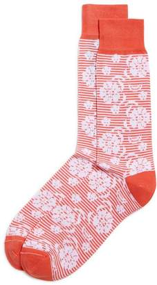Bloomingdale's The Men's Store at Striped Floral Socks - 100% Exclusive