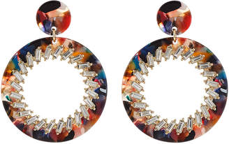 Natasha Accessories Limited Lucite Circle-Drop Earrings w\/ Crystals