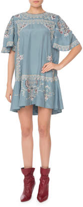 Isabel Marant Short-Sleeve Embroidered Silk Mini Dress
