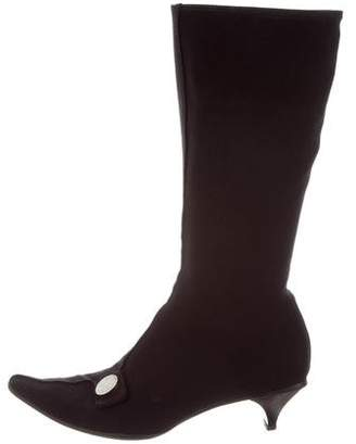 Prada Pointed-Toe Mid-Calf Boots