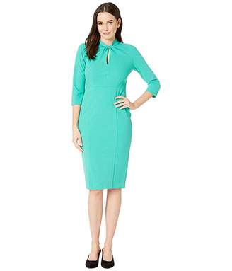 Donna Morgan Twist Neck Crepe Sheath Dress