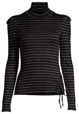 aaf170ba Generation Love Women's Rose Metallic-Stripe Turtleneck Top