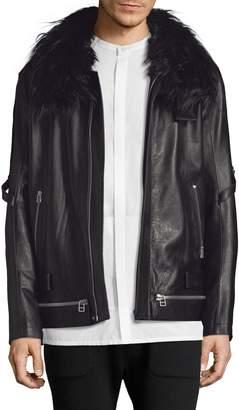 Helmut Lang Men's Faux Fur-Trimmed Leather Biker Jacket