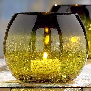 World Market Ombre Tea Light Holder Olive, Set of 2
