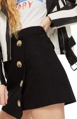 Topshop Twill Asymmetrical Wrap Skirt