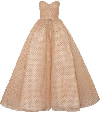 Monique Lhuillier Strapless Glittered Polka-dot Tulle Gown - Gold
