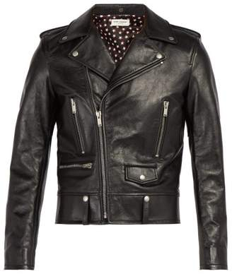 Saint Laurent Leather Biker Jacket - Mens - Black