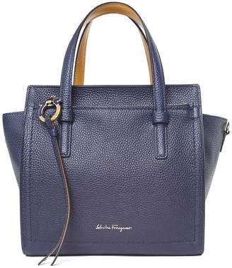 Salvatore Ferragamo Amy Small Bi-colour Pebbled-leather Crossbody Bag
