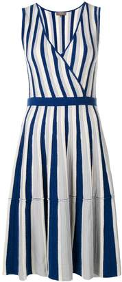 N.Peal striped wrap front dress