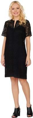 C. Wonder Lace Split Neck Short Sleeve Dress with Lining