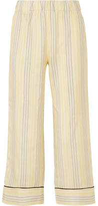 Ganni Bergamot Striped Silk Straight-leg Pants