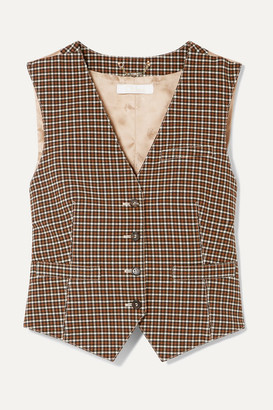 Chloé Checked Woven And Satin-jacquard Vest - Brown