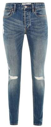 Topman Mens Blue Mid Wash Stretch Skinny Jeans with Rips
