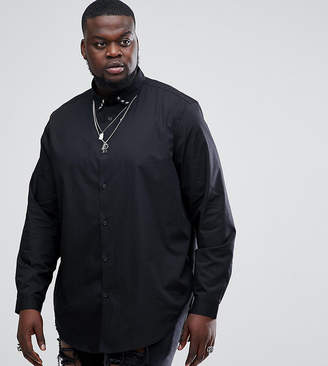 Asos PLUS Regular Fit Longline Shirt With Star Studs