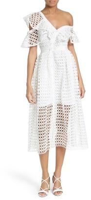 Women's Self-Portrait Ruffled Lace Midi Dress $545 thestylecure.com