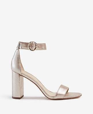 Ann Taylor Leannette Metallic Leather Block Heel Sandals