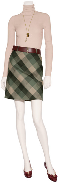 Salvatore Ferragamo Forest and Old Rose Plaid A-Line Skirt