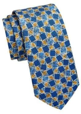 Saks Fifth Avenue COLLECTION Tilted Square Silk Print Tie