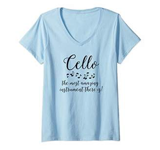 Womens Amazing Cello Orchestra Musical Instrument V-Neck T-Shirt