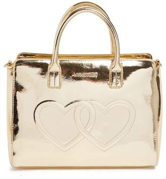 Love Moschino Embossed Hearts Metallic Satchel