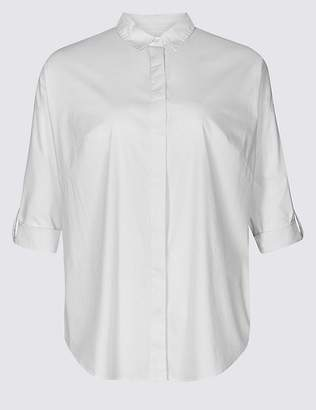 Marks and Spencer CURVE Cotton Rich Long Sleeve Shirt