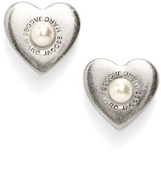 Women's Marc Jacobs Faux Pearl Heart Stud Earrings $45 thestylecure.com