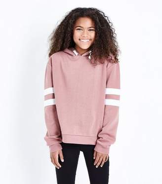New Look Girls Mid Pink Stripe Sleeve Hoodie