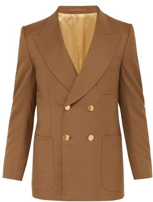 Gucci Double Breasted Twill Blazer - Mens - Brown