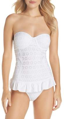 Tory Burch Broderie Anglais Flounce Convertible One-Piece Swimsuit