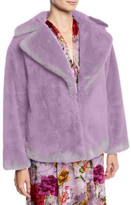 Alice + Olivia Thora Faux-Fur Oversized Coat