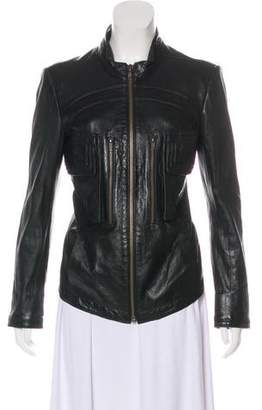 Theyskens' Theory Leather Long Sleeve Jacket