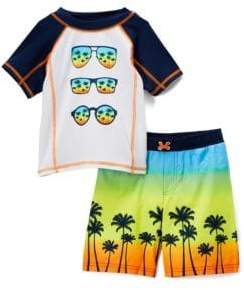 Baby Boy's Come Tropical Paradise Two-Piece Rash Guard and Swim Shorts Set