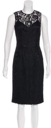 Dolce & Gabbana Polka Dot & Lace Sheath Dress
