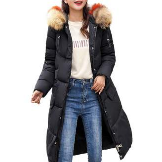 Pervobs Women Parkas&Down Jacket Pervobs Clearance Sale! Women Winter Warm Down Jackets Coat Hooded Thick Elegant Slim Long Coat Overcoat Jackets(, Black)