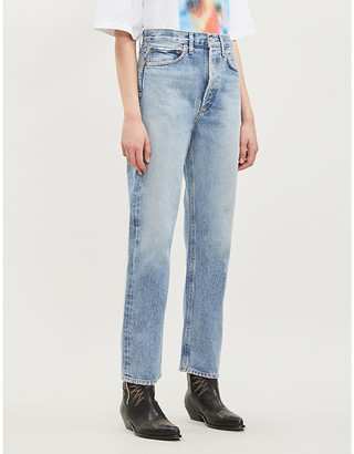 A Gold E Agolde 90s mid-rise faded straight-leg jeans