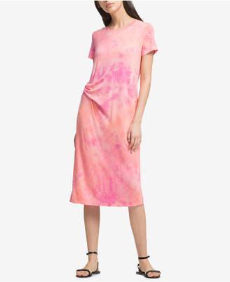 DKNY Gathered Tie-Dye T-Shirt Dress