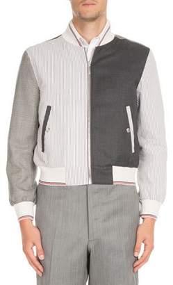 Thom Browne Fun-Mix Zip-Front Twill Jacket